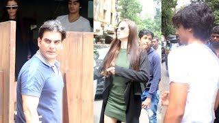 Arbaaz Khan With Girlfriend Giorgia Andriani And Son Arhaan Khan Spotted At Indigo Restaurant Bandra