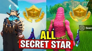 ALL SECRET BATTLE STAR LOCATIONS! WEEK 1 to WEEK 4 SECRET BATTLE STAR FORTNITE SEASON 10