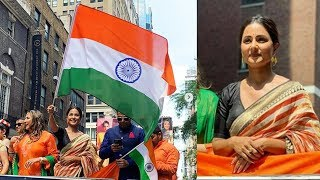Hina Khan Is A Proud Indian At India Day Parade In New York   First TV Actress To Host Indian Flag