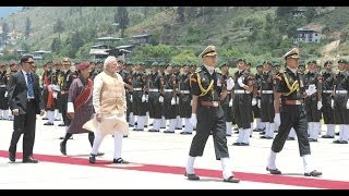 PM Narendra Modi inspects the Ceremonial Guard of Honour in Bhutan | PMO