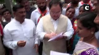 JP Nadda holds door-to-door campaign as part of BJP membership drive in Hyderabad