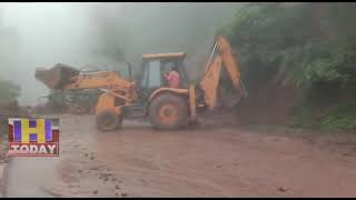 19 AUG N 11National Raj Marg Chandigarh closed due to heavy landslide from Manali