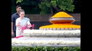 Congress President Sonia Gandhi paid tributes to former PM Rajiv Gandhi on his birth anniversary