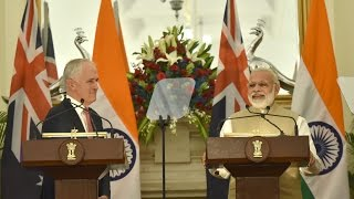 PM Modi at Exchange of Agreements & Press Statements with PM of Australia, Mr. Malcolm Turnbull