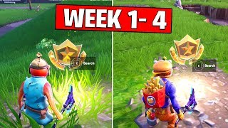 ALL SECRET BATTLE STARS Season 10 - Fortnite Week 1 to Week 4 Locations (SEASON X)