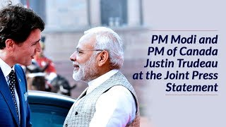 PM Modi and PM of Canada Justin Trudeau at the Joint Press Meet | PMO