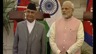 PM Modi & Nepal's PM KP Oli at the Joint Press Statement & inauguration of Development Projects