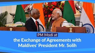 PM Modi at the Exchange of Agreements & Joint Press Meet with Maldives' President Mr. Solih | PMO