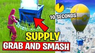 SEARCH A SUPPLY DROP WITHIN 10 SECONDS OF IT LANDING - GRAB and SMASH CHALLENGES FORTNITE
