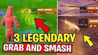 PICK UP 3 LEGENDARY ITEMS IN A SINGLE MATCH - GRAB and SMASH CHALLENGES FORTNITE