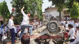 Principal's car busted by students in college, Thakurdwara
