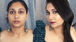New Affordable Makeup Try On | Indian Wedding Guest Makeup Green & Brown Smokey Eyes | Nidhi Katiyar