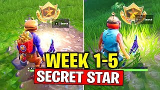 ALL SECRET BATTLE STARS Season 10 - Fortnite Week 1 to Week 5 Locations (SEASON X)