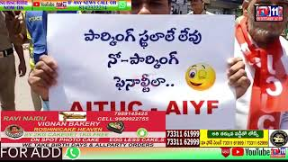 AITUC & AIYF LEADERS PROTEST ON NEW MOTOR VEHICLE ACT AT HIMAYATH NAGAR Y JUNCTION| HYDERABAD |TS.