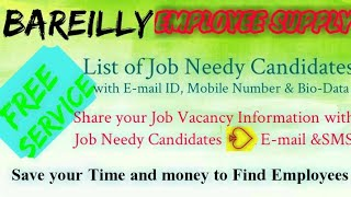 BAREILLY    EMPLOYEE SUPPLY   ! Post your Job Vacancy ! Recruitment Advertisement ! Job Information