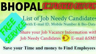 BHOPAL   EMPLOYEE SUPPLY   ! Post your Job Vacancy ! Recruitment Advertisement ! Job Information 128