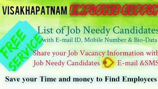 VISAKHAPATNAM   EMPLOYEE SUPPLY   ! Post your Job Vacancy ! Recruitment Advertisement ! Job Informat