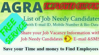 AGRA   EMPLOYEE SUPPLY   ! Post your Job Vacancy ! Recruitment Advertisement ! Job Information 1280x