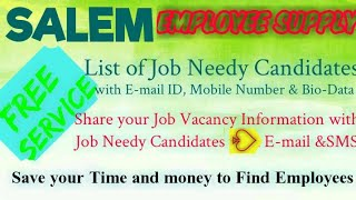 SALEM EMPLOYEE SUPPLY   ! Post your Job Vacancy ! Recruitment Advertisement ! Job Information