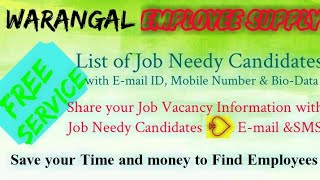 WARANGAL   EMPLOYEE SUPPLY   ! Post your Job Vacancy ! Recruitment Advertisement ! Job Information 1