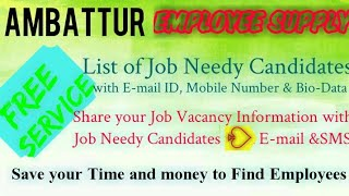 AMBATTUR   EMPLOYEE SUPPLY   ! Post your Job Vacancy ! Recruitment Advertisement ! Job Information 1
