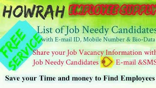 HOWRAH   EMPLOYEE SUPPLY   ! Post your Job Vacancy ! Recruitment Advertisement ! Job Information 128