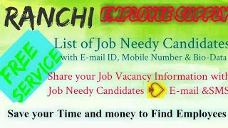 RANCHI   EMPLOYEE SUPPLY   ! Post your Job Vacancy ! Recruitment Advertisement ! Job Information 128