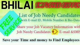 BHILAI   EMPLOYEE SUPPLY   ! Post your Job Vacancy ! Recruitment Advertisement ! Job Information 128