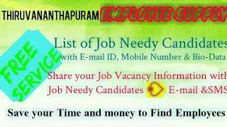 THIRUANANTHPURAM   EMPLOYEE SUPPLY   ! Post your Job Vacancy ! Recruitment Advertisement ! Job Infor