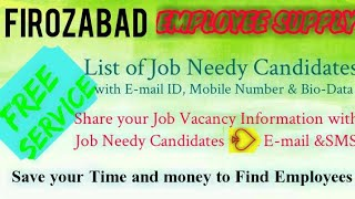 FIROZABAD   EMPLOYEE SUPPLY   ! Post your Job Vacancy ! Recruitment Advertisement ! Job Information