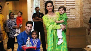 Sunny Leone's Daughter Brings Home GANESH IDOL | Sunny Leone With Family | Ganesh Chaturthi 2019