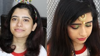 I Did Aninidita's Makeup For The first Time   Indian Wedding Guest/Reception Makeup for acne skin