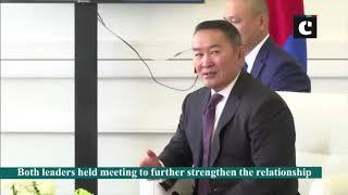 PM Modi meets Mongolian President Battulga Khaltmaa in Russia