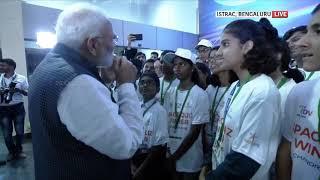 PM Modi interacts with students at ISRO HQ in Bengaluru