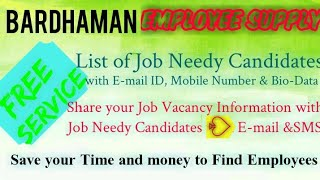 BARDHAMAN      EMPLOYEE SUPPLY   ! Post your Job Vacancy ! Recruitment Advertisement ! Job Informati