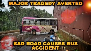 Major Tragedy Averted: Bad Road Causes Bus Accident In Ponda