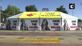 Posters raising human rights violations in Balochistan, Khyber Pakhtunkhwa appear outside UN