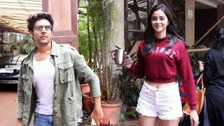 Pati Patni Aur Woh Actors Ananya Panday And Kartik Aaryan Spotted at commerce center