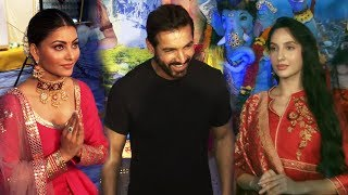 John Abraham , Nora Fatehi And Urvashi Rautela Visit At Tseries Pandal For Ganpati Darshan