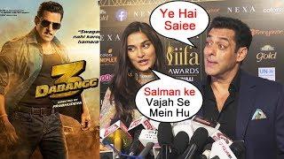 Salman Khan Introduces Saiee Manjrekar At IIFA Awards 2019 | Dabangg 3