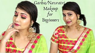 Garba Night / Durga Puja / Festive Makeup Look using new affordable makeup | Pink & yellow Makeup