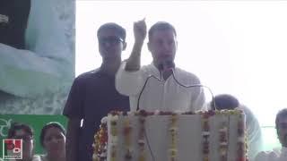 Congress President Rahul Gandhi addresses a rally in Kurukshetra Haryana