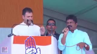 Congress President Rahul Gandhi addressing a public meeting in Wanaparthy, Telangana