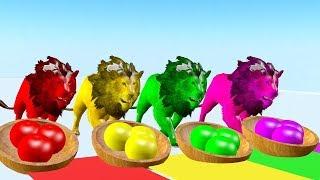 León comiendo manzana y cambiando colores - Videos Para niños