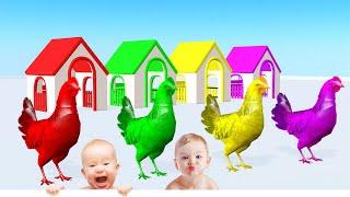 Pollo Comiendo Comida y Cambia de Color - Videos Para niños.