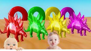 Dinosaurio nadando en una piscina colorida y colores cambiantes - Videos Para niños