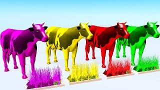 Vaca Comiendo Hierba y Cambiar de Color - Videos Para niños.