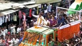 कांग्रेस महासचिव प्रियंका गांधी के सिलचर, असम के रोड शो में जनसैलाब