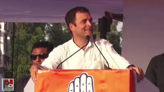 Congress President Rahul Gandhi addresses a public meeting in Jabalpur, Madhya Pradesh