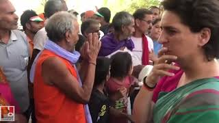 Priyanka Gandhi interacting with the masses of raebareli on the issue of stray cows